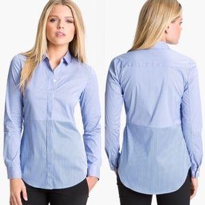 Theory Tablita Blue Striped Button Down Shirt